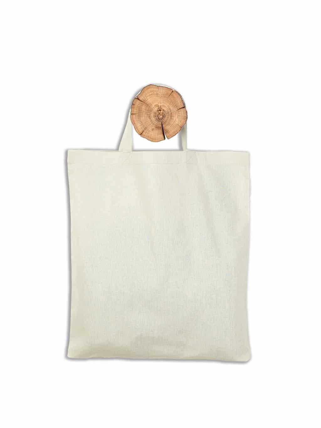Baumwolltasche kurze Henkel weiß